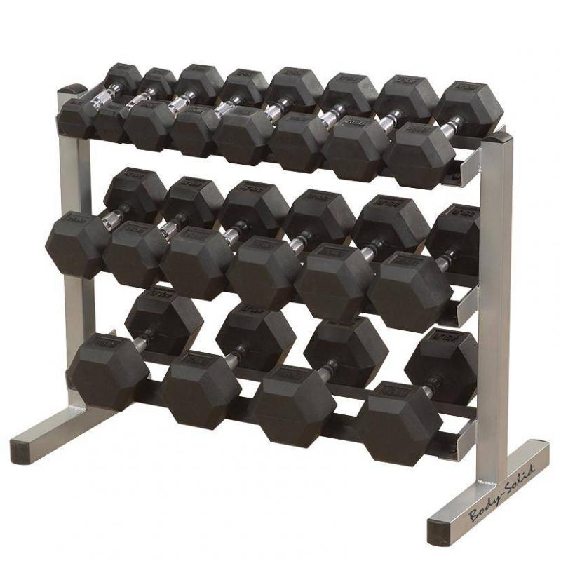 ALLproducts Body Solid Hexagon Rubber Dumbbell – 17,5 kg – p--paar